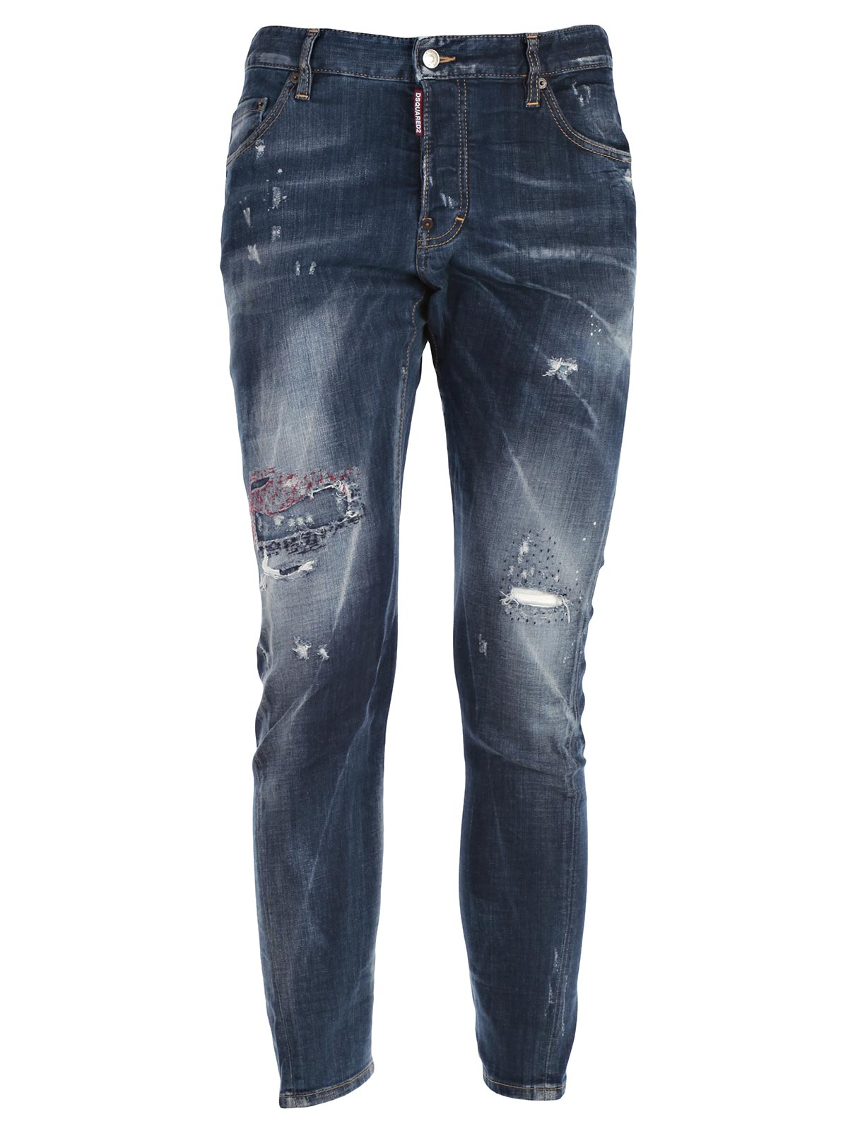 Picture of DSQUARED2 JEANS JEANS SEXY TWIST - GINOCCHIO PUNTINATO ROSSO
