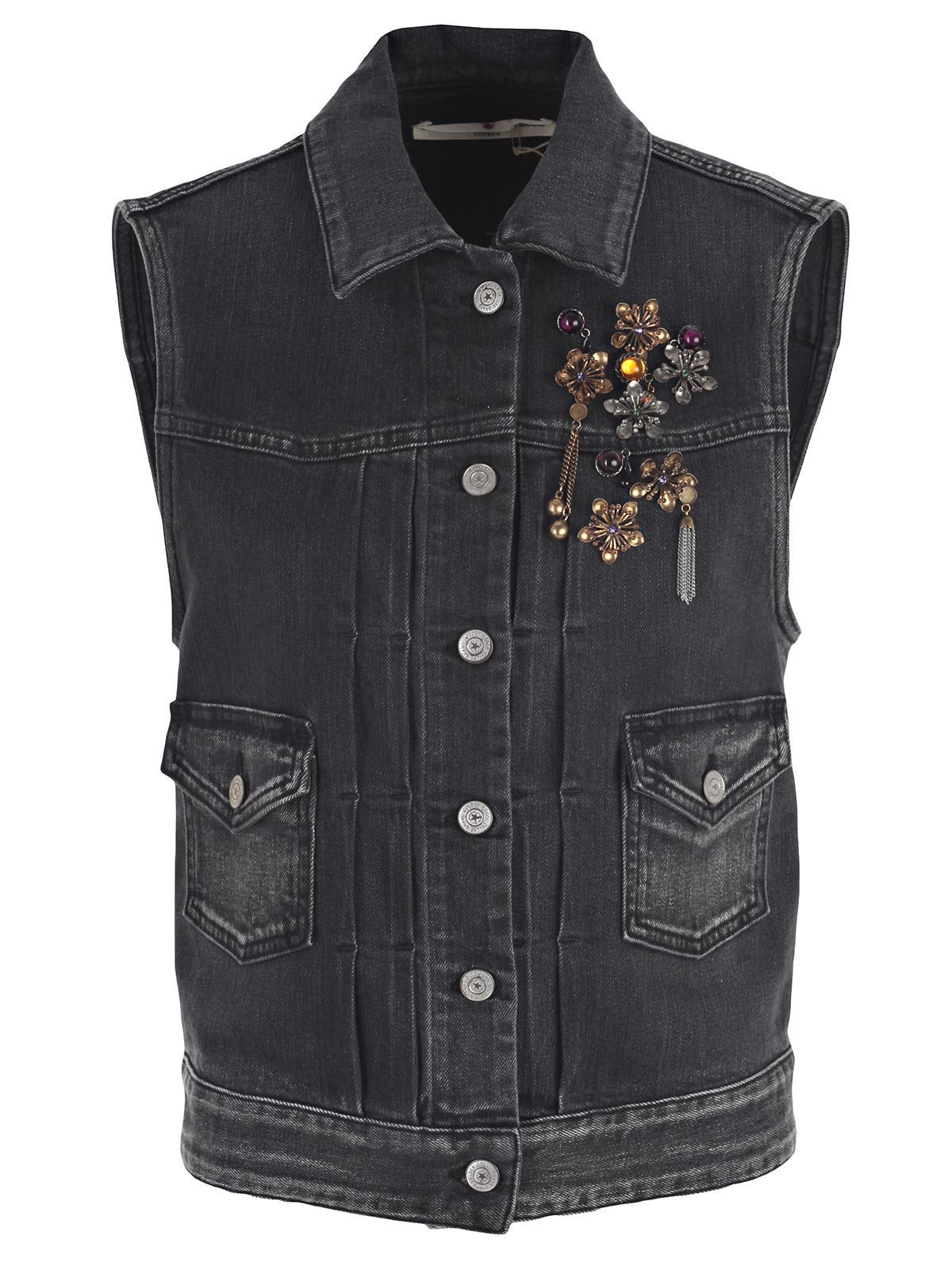 Picture of GOLDEN GOOSE DELUXE BRAND VEST GILET DENIM CON SPILLE