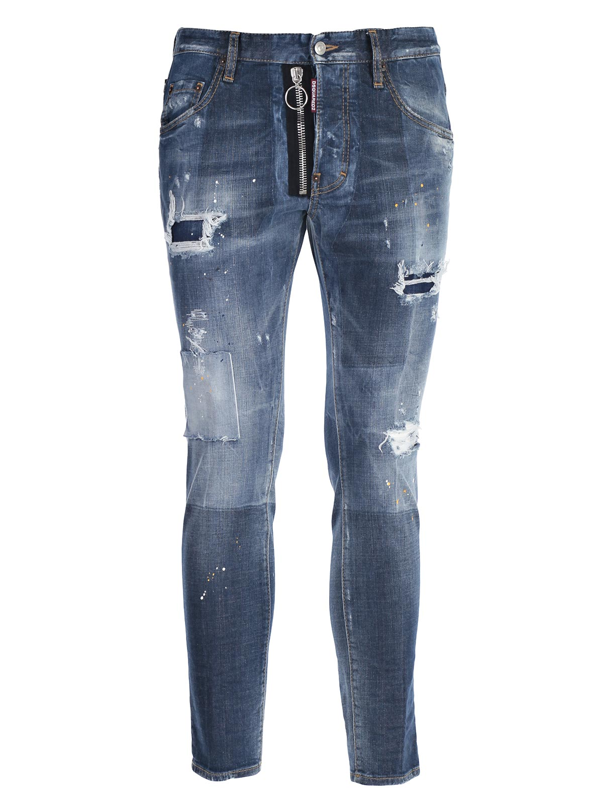 Picture of DSQUARED2 JEANS JEANS SKATER STRAPPI RATTOPPATI - ZIP A VISTA