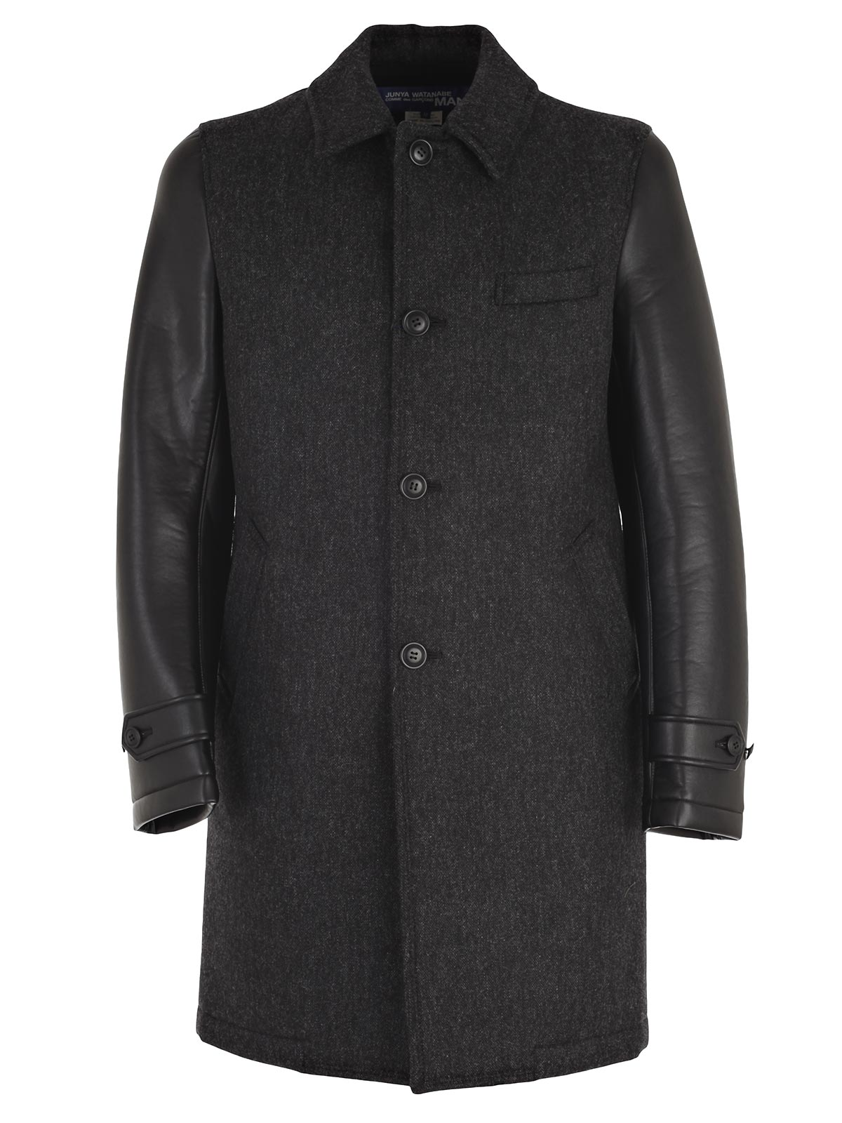 Picture of JUNYA WATANABE COMME DES GARCONS COAT CAPPOTTO TWEED CON MANICHE ECOPELLE